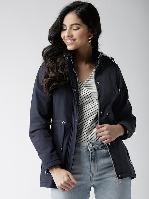 Okane Women Navy Blue Solid Tailored Jacket with Detachable Hood