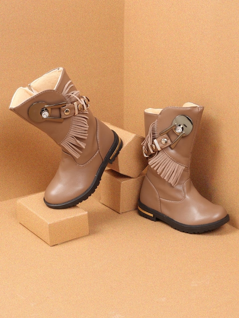 Walktrendy Girls Beige Solid Synthetic High-Top Flat Boots