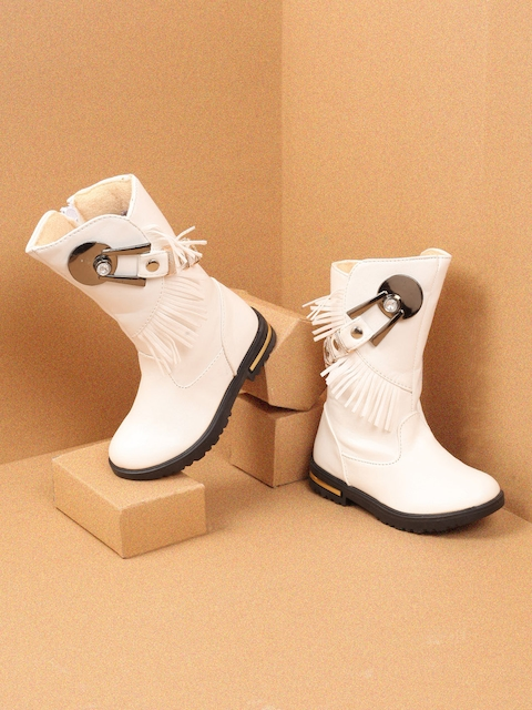 Walktrendy Girls White Solid Synthetic High-Top Flat Boots