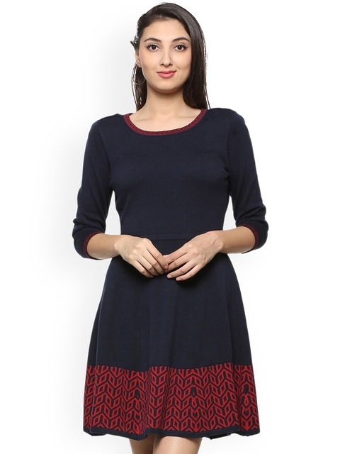 Allen Solly Woman Navy Blue Solid Jacquard Woven Fit and Flare Dress