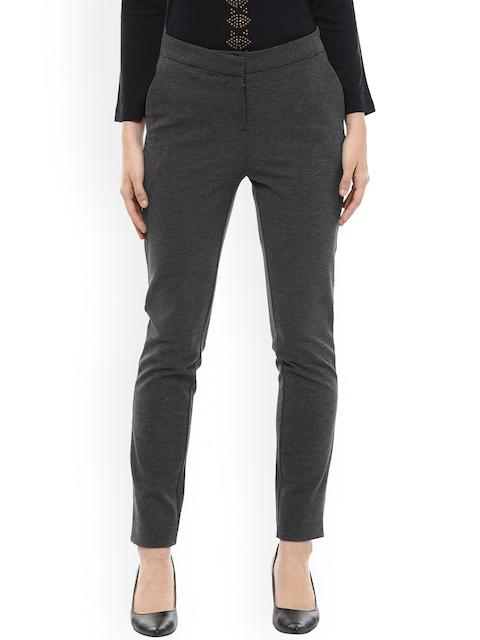Allen Solly Woman Women Grey Regular Fit Solid Regular Trousers