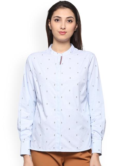 Allen Solly Woman Women Blue Regular Fit Striped Casual Shirt