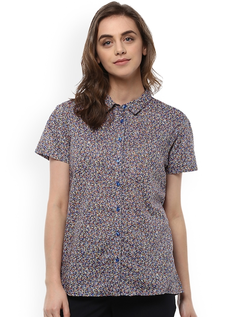 Allen Solly Woman Blue & Red Regular Fit Printed Casual Shirt