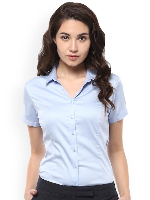 Allen Solly Woman Women Blue Regular Fit Solid Formal Shirt