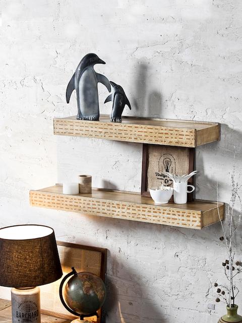 FABULIV Beige Wood Basic Wall Shelf