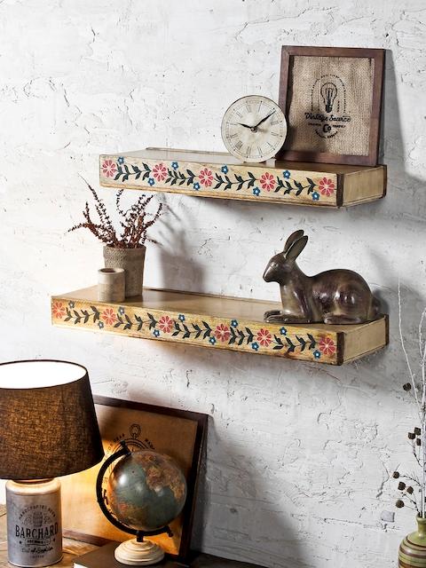 FABULIV Beige Wood Basic Set of 2 Wall Shelf