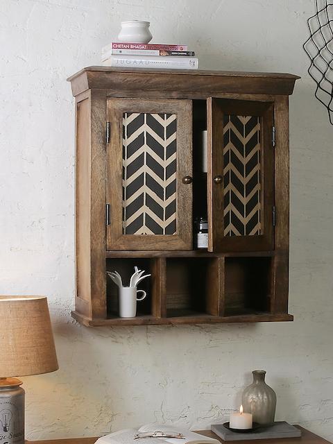FABULIV Brown Wood Alfredo Wood Basic Wall Shelf