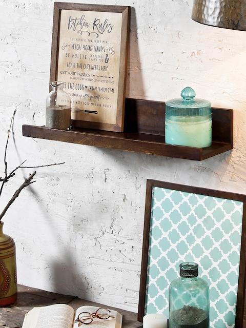 FABULIV Coffee Brown Wood Basic Wall Shelf