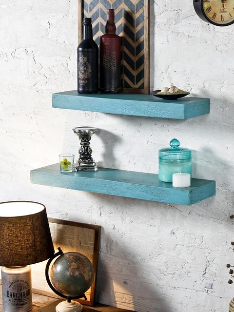 FABULIV Sea Green Wood 2-Tiered Basic Wall Shelf