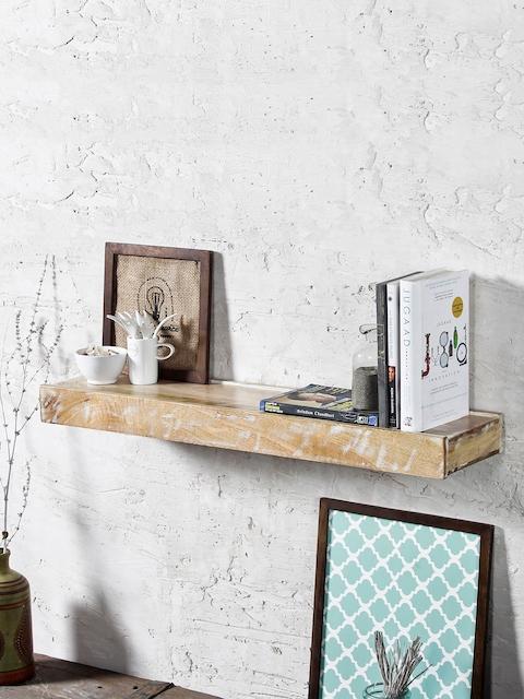 FABULIV Brown Wood Ashton Distress Basic Wall Shelf