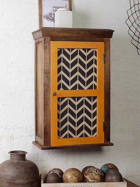 FABULIV Brown & Yellow Wood Basic Wall Shelf