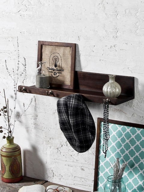 FABULIV Coffee Brown Wall Shelf with Keyholders