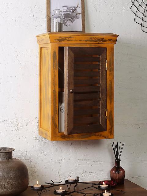 FABULIV Brown & Coffee Brown Wood Basic Wall Shelf