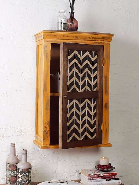 FABULIV Brown Wood Basic Wall Shelf