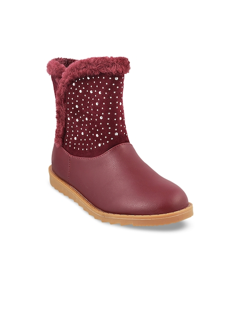 Mochi Girls Maroon Embellished Synthetic High-Top Flat Boots