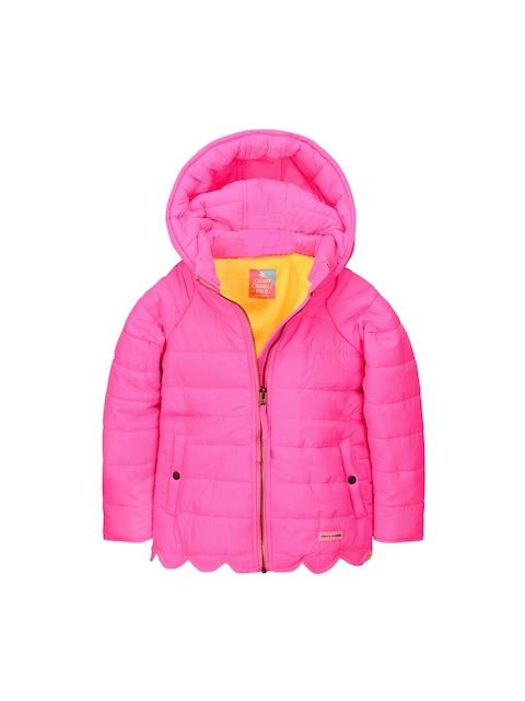 Cherry Crumble Girls Pink Solid Puffer Jacket