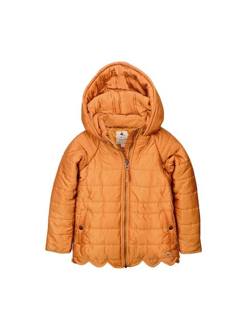 Cherry Crumble Girls Tan Brown Solid Puffer Hooded Jacket