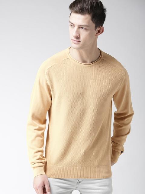 Arrow Sport Men Beige Solid Pullover