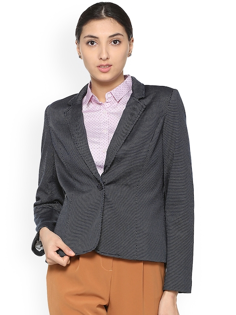 Allen Solly Woman Navy Blue Printed Blazer