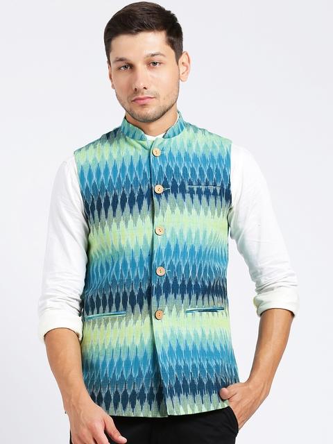 KISAH Men Blue & Green Printed Nehru Jacket