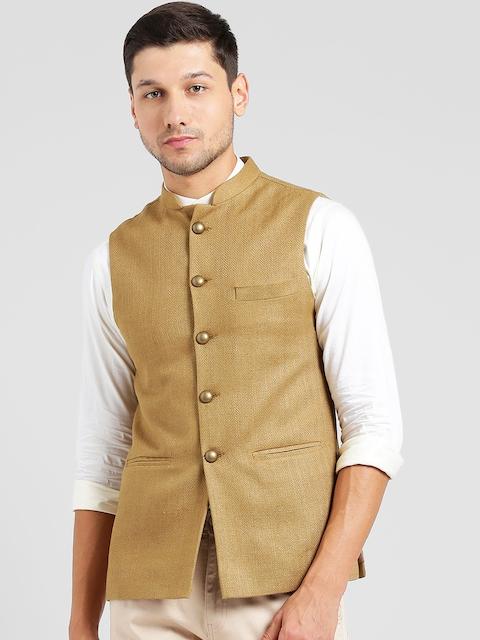 KISAH Men Beige Woven Design Nehru Jacket