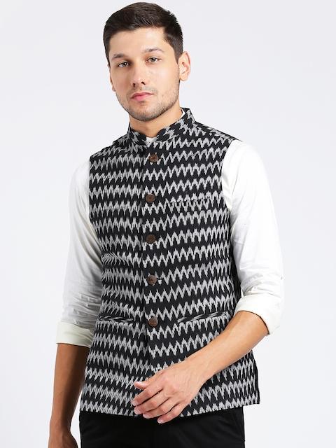 KISAH Men Black & Grey Striped Nehru Jacket