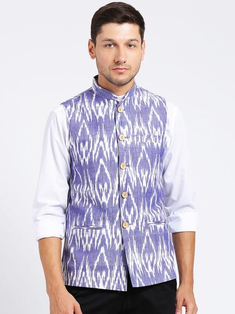 KISAH Men Blue & White Printed Nehru Jacket