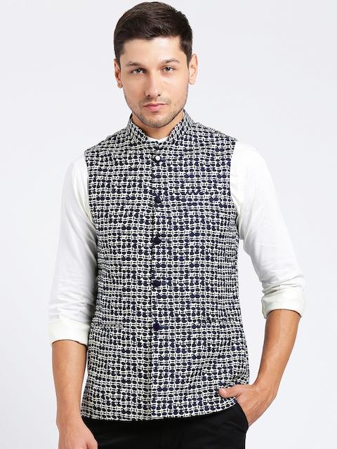 KISAH Men Blue Printed Nehru Jacket