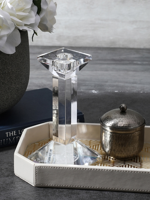 Pure Home and Living Transparent Small Crystal Column Candle Holder