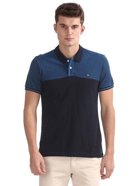 Arrow Sport Men Black And Blue Colourblocked Polo Collar T-shirt
