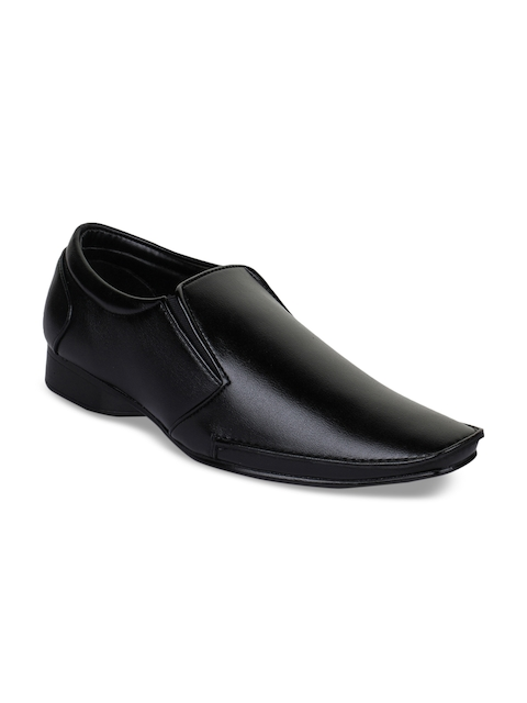 Bruno Manetti Men Black Synthetic Leather Formal Slip-Ons