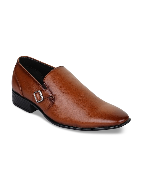 Bruno Manetti Men Tan Brown Synthetic Leather Formal Slip-Ons