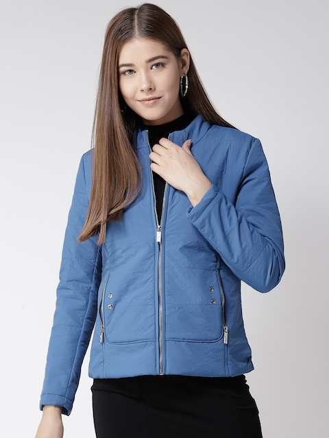 Fort Collins Women Blue Solid Padded Jacket