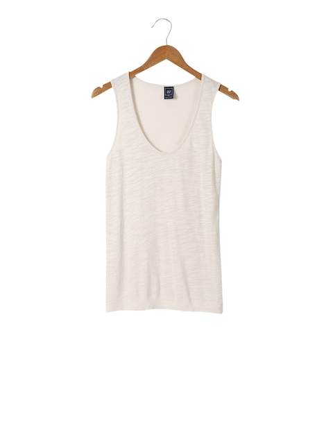 GAP Women Beige Modal Scoop Top