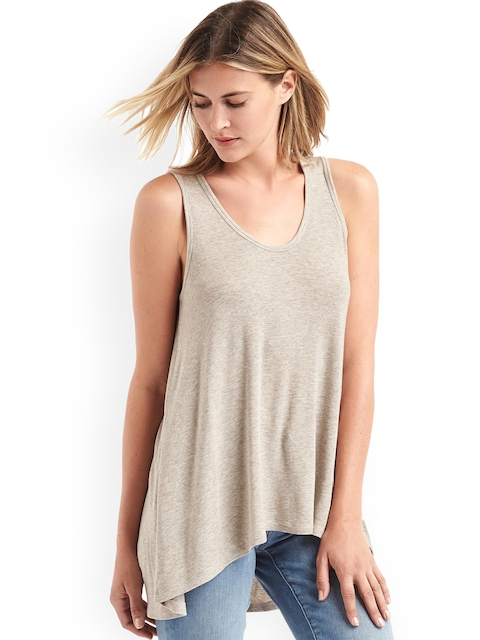 GAP Women Beige Cozy Rib Swing Top