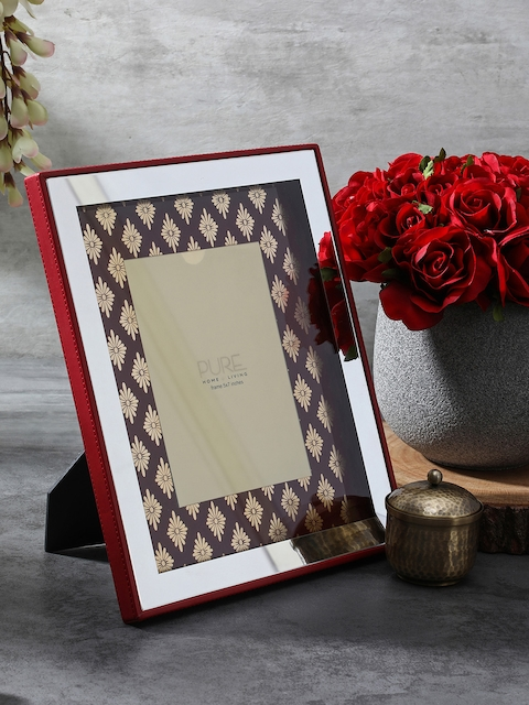 Pure Home and Living Maroon & Gold-Coloured Printed Photo Frame