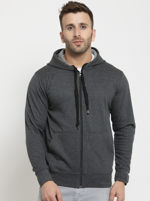 SCOTT INTERNATIONAL Men Charcoal Solid Hooded Sweatshirt