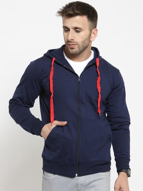 SCOTT INTERNATIONAL Men Navy Blue Solid Hooded Sweatshirt