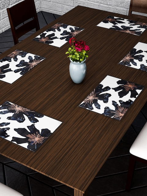 Dreamscape Set Of 6 Blue, Black & White Printed Table Mats