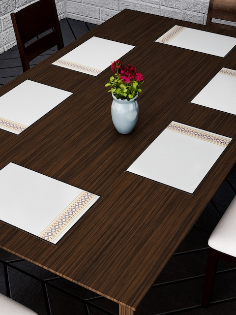 Dreamscape Set Of 6 White Printed Table Mats