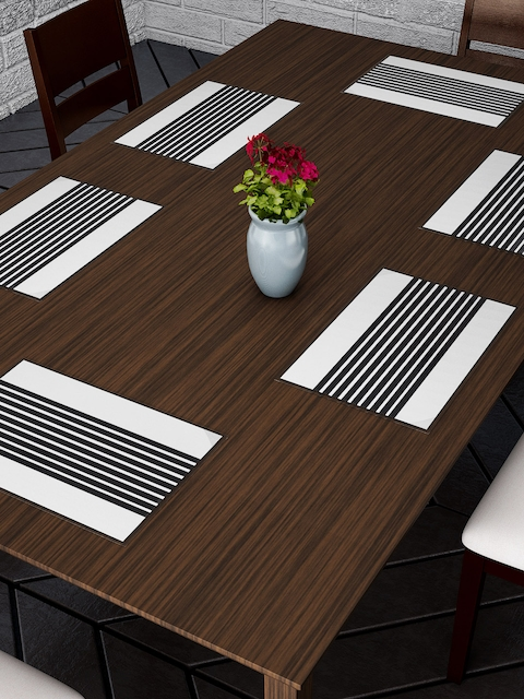 Dreamscape Set Of 6 Black & White Printed Table Mats