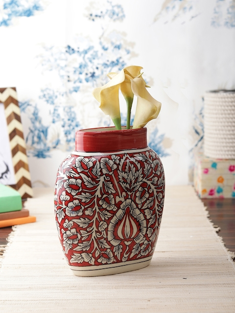 VarEesha Red Ceramic Organic Vase