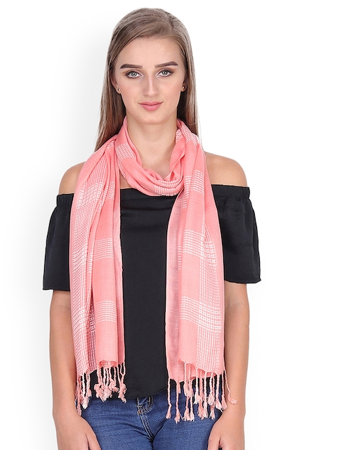 Anekaant Women Peach-Coloured & White Woven Design Stole