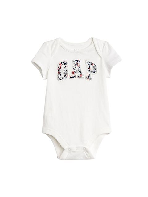 GAP White Girls Floral Logo Bodysuit
