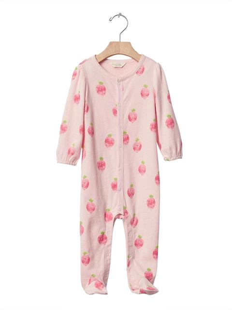 GAP Girls Pink Organic Fruit Footed Bodysuit