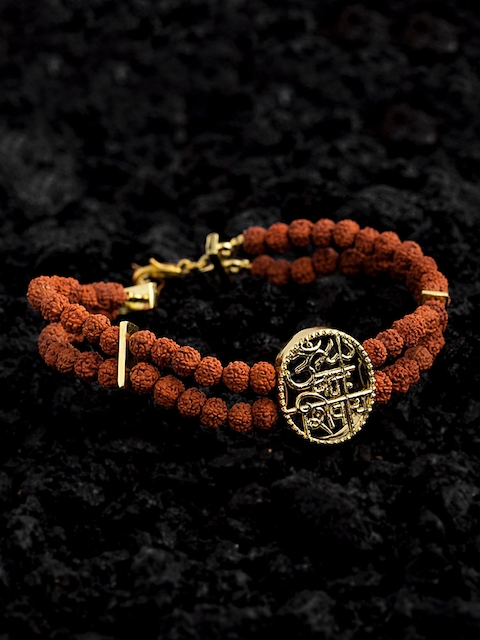 Dare by Voylla Brown Brass Gold-Plated Handcrafted Charm Bracelet