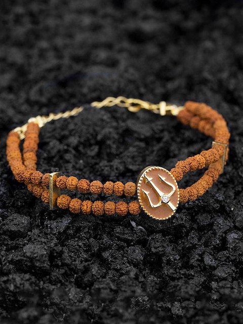 Dare by Voylla Men Gold-Plated and Brown Handcrafted Multistrand Bracelet