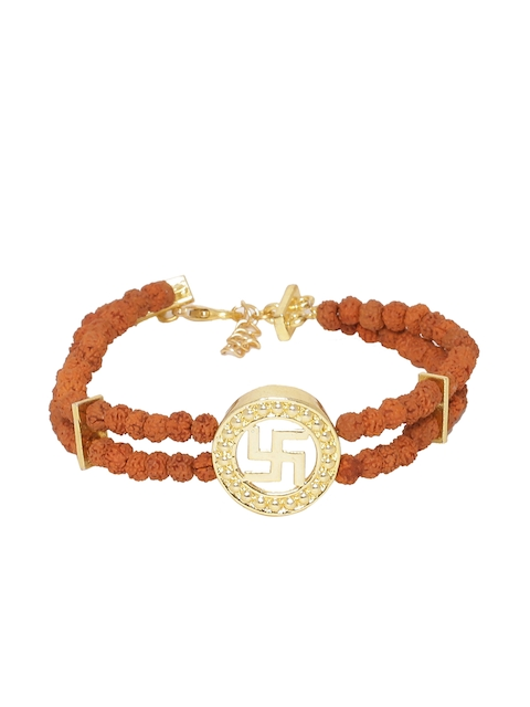 Dare by Voylla Men Brown and Gold-Plated Handcrafted Multistrand Bracelet