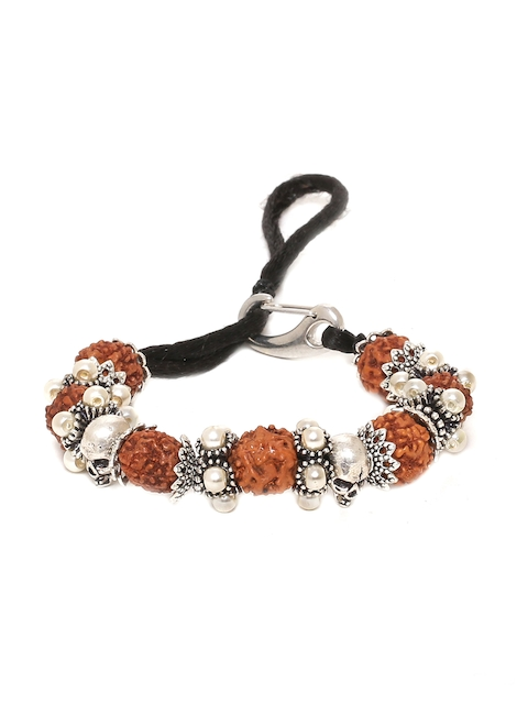 Dare by Voylla Men Silver-Toned & Brown Brass Rhodium-Plated Handcrafted Charm Bracelet