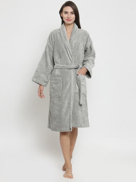 Trident Unisex Grey Solid Bathrobe